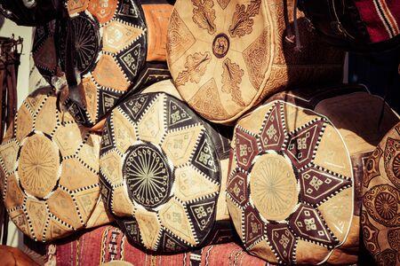 souk: Old Medina souk Fez, artisan shop of colorful moroccan leather, Fez, Morocco.