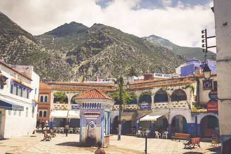 hamam: CHEFCHAOUEN, MOROCCO -MAY 1, 2013: Architecture of Chefchaouen, small town in northwest Morocco famous by its blue buildings Editorial