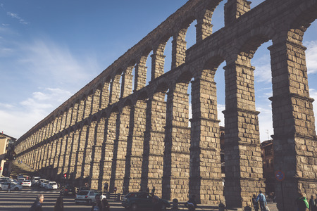 castille: Segovia, Spain - May 6: The Roman Aqueduct of Segovia and the square of the Azoguejo, in Segovia, Spain