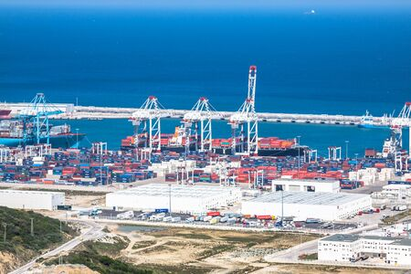 port: TANGIER, MOROCCO-MAY 5,2013: New passenger terminals in Port of Tangier, Africa
