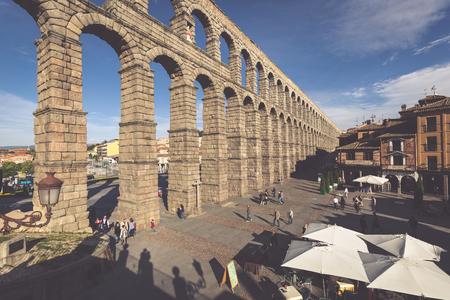segovia: Segovia, Spain - May 6: The Roman Aqueduct of Segovia and the square of the Azoguejo, in Segovia, Spain