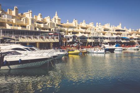 literas: BENALMADENA, SPAIN - MAY 5,2013: view of Puerto Marina in Benalmadena,Costa del Sol Malaga, Spain. This marina has berths for 1100 boats. It was opened on 1987.