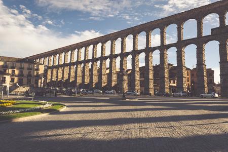 Segovia, Spain - May 6: The Roman Aqueduct of Segovia and the square of the Azoguejo, in Segovia, Spain