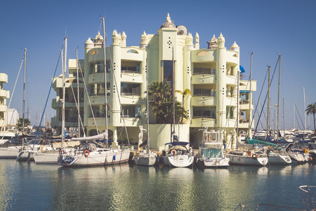literas: BENALMADENA, SPAIN - MAY 5,2013: view of Puerto Marina in Benalmadena,Costa del Sol Malaga, Spain. This marina has berths for 1100 boats. It was opened on 1987.