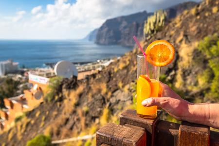 canarias: Orange juice glass,Tenerife islanda canarias,Spain Stock Photo