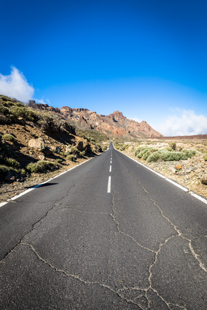 on the lonely road: Desert Lonely Road Landscape in Volcan Teide National Park, Tenerife, Canary Island, Spain