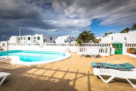 urbanization: View of the swimming pool in the urbanization Playa Blanca,Lanzarote