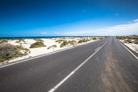 lanzarote: Road near Orzola, Lanzarote, Canary Islands, Spain. Stock Photo