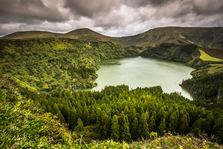 agriculture azores: Landscape of the island of Flores. Azores, Portugal