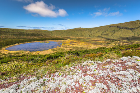 rasa: Azores landscape with lake in Flores island. Caldeira Rasa. Portugal. Horizontal