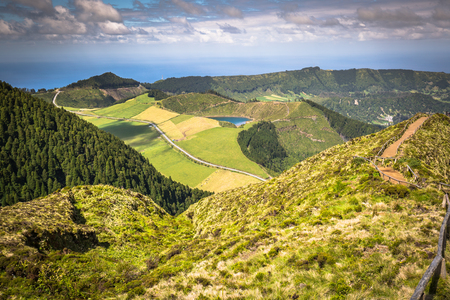 heaven background: Walking path leading to a view on the lakes of Sete Cidades, Azores, Portugal