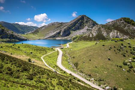 covadonga: Lake Enol and mountain retreat, the famous lakes of Covadonga, Asturias , Spain