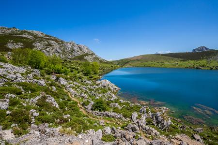 retreat: Lake Enol and mountain retreat, the famous lakes of Covadonga, Asturias , Spain