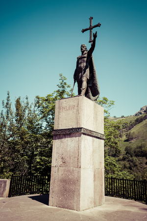 iconography: Ancient King Pelayo sculpture at Covadonga in Asturias Spain