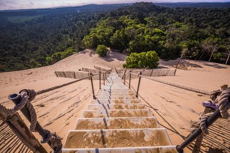 高さ 114 m の砂丘デュ ピラ アルカション ジロンド フランス アキテーヌ地域圏の近くのヨーロッパで最も高い砂丘 写真素材