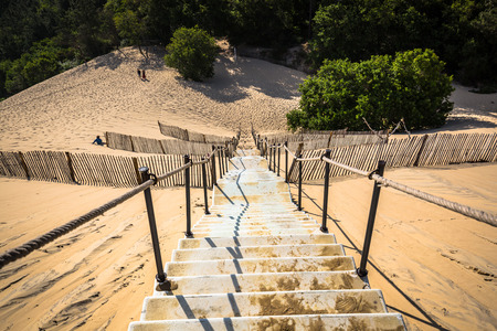 aquitaine: Dune du Pilat at 114 Metres the highest sand dune in Europe near Arcachon Gironde France Aquitaine Stock Photo