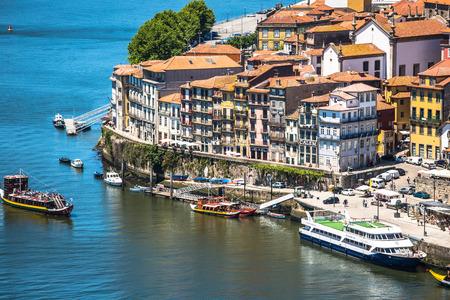 porto: Porto, Portugal -21 May 2015:View of Porto Ribeira and Douro river in Porto, Portugal