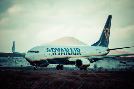 jetplane: Arrecife,Spain -22 March 2015: Airliner of Ryanair is the largest low-cost carrier in Europe Editorial