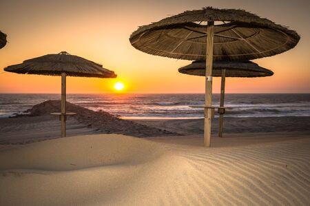 Costa Nova beach in Aveiro, Portugal Stock Photo