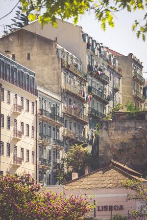 baixa: Facade of old house in Alfama district, Lisbon Editorial