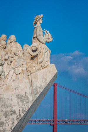 discoverer: Monument to the Discoveries of New world in Lisboa, Portugal
