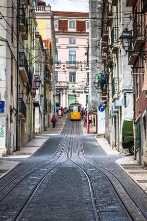 ascensor: Lisbon,Portugal-April 12,2015:The Bica Funicular (Elevador da Bica or Ascensor da Bica) is a funicular in Lisbon, Portugal