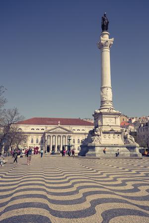 Lisbon, Portugal-April 12,2015: cityscape at Rossio Square. Editorial
