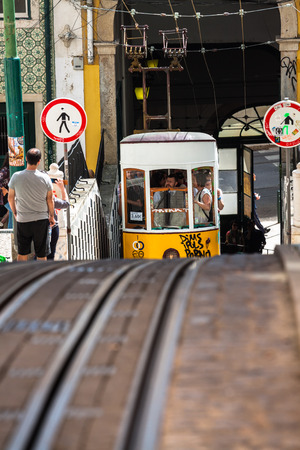 bica: Lisbon,Portugal-April 12,2015:The Bica Funicular (Elevador da Bica or Ascensor da Bica) is a funicular in Lisbon, Portugal