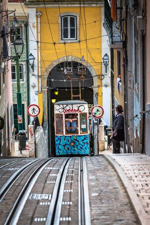 baixa: Lisbon,Portugal-April 12,2015:Ascensor da Bica bairro alto lisboa, portugal