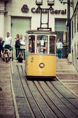 elevador: Lisbon,Portugal-April 12,2015:The Bica Funicular (Elevador da Bica or Ascensor da Bica) is a funicular in Lisbon, Portugal