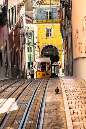 electrico: Lisbon,Portugal-April 12,2015:Ascensor da Bica bairro alto lisboa, portugal