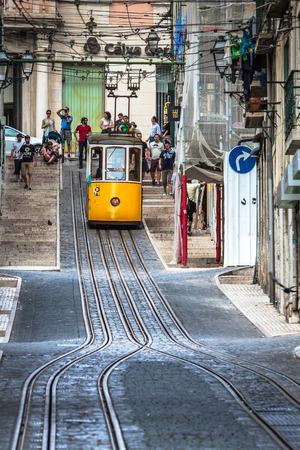 Lisbon,Portugal-April 12,2015:The Bica Funicular (Elevador da Bica or Ascensor da Bica) is a funicular in Lisbon, Portugal