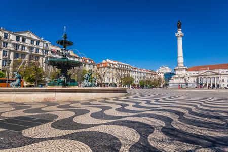 baixa: Lisbon, Portugal cityscape at Rossio Square. Editorial