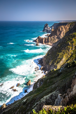 roca: The cliffs of Cabo da Roca, Portugal. The westernmost point of Europe.