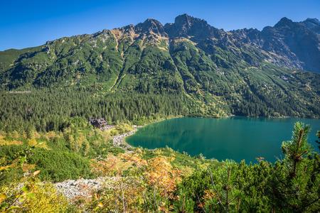 morskie: Landscape of mountain lake Morskie Oko near Zakopane, Tatra Mountains, Poland Stock Photo