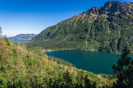 oko: Landscape of mountain lake Morskie Oko near Zakopane, Tatra Mountains, Poland Stock Photo