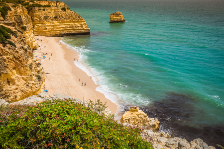 barlavento: Marinha Beach, located on the Atlantic coast in Portugal,Algarve. Stock Photo
