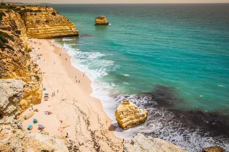 barlavento: Marinha Beach, located on the Atlantic coast in Portugal,Algarve. Stock Photo