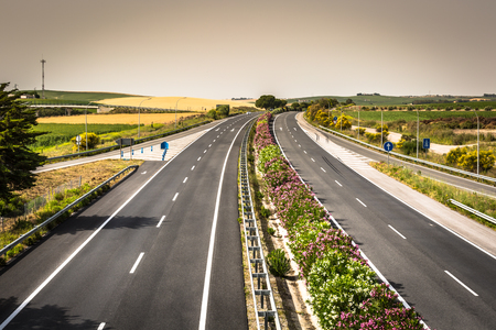 Aerial view of lanes highway in Spain Stock Photo