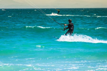 towed: flying kiter in Tarifa Stock Photo