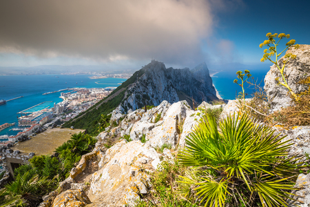 territory: View of the Gibraltar rock from the Upper Rock Stock Photo