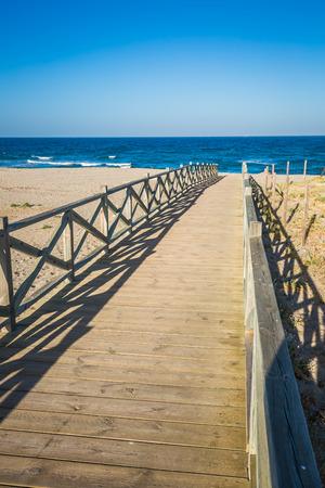 View across wooden footbridge, La Linea de la Concepcion, Costa del Sol, Cadiz Province, Andalucia, Spain