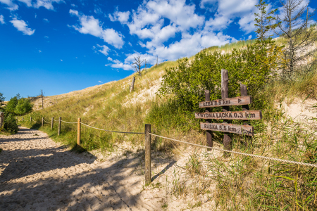 wooden trail sign: Sand dune tourist trail sign wooden gate to Wydma Lacka -  Slowinski National Park near Leba, Baltic Sea, Poland