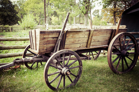 spoked: Old horse drawn wooden cart