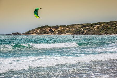 kiter: Tarifa,Spain-May 15,2015:kites flying over Tarifa beach