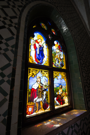the pena national palace: Sintra, Portugal - April 13, 2015: Stained glass window from Pena National Palace in Sintra, Portugal