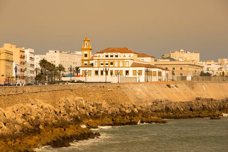 Cadiz,Spain-May 14,2015:Embankment along the sea and the old Spanish town