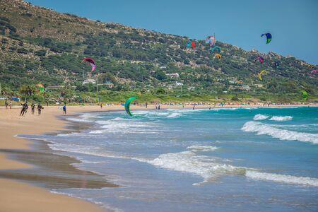 tarifa: Tarifa,Spain-May 15,2015:kites flying over Tarifa beach