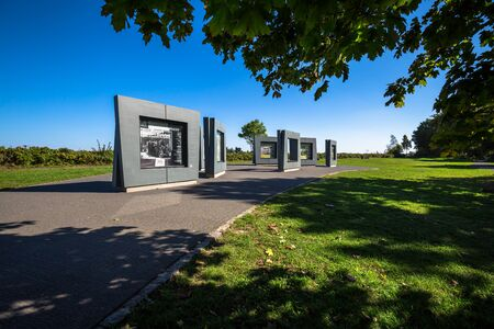 acts: Gdansk,Poland-September 19,2015:Visitors are informed about acts of war at the Westerplatte memorial on the penisula with the same name in Gdansk, Poland