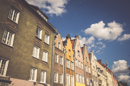 neighbour: Colorful houses - tenements in old town Gdansk, Poland Stock Photo